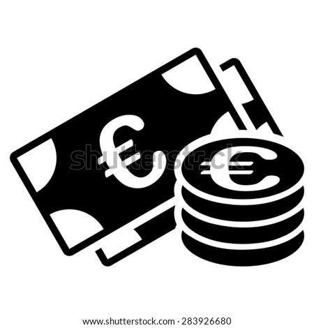 Euro cash from BiColor Euro Banking Icon Set. Vector style: flat, black symbol, rounded angles, white background. - stock vector