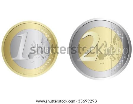 euro coin - stock vector