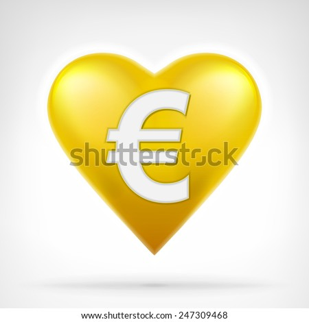 Euro coin shaped as golden heart at modern graphic design isolated vector illustration on white background  - stock vector