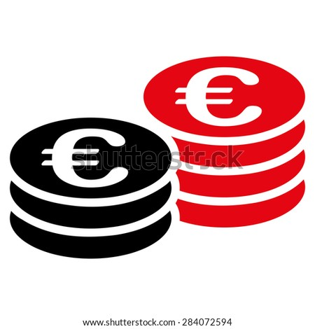Euro coin stacks from BiColor Euro Banking Icon Set. Vector style: flat bicolor, intensive red and black symbol, rounded angles, white background. - stock vector