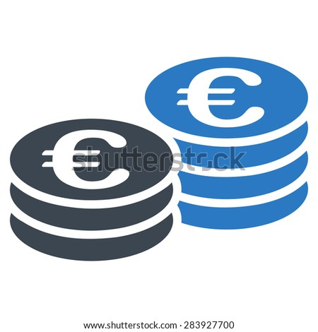 Euro coin stacks from BiColor Euro Banking Icon Set. Vector style: flat bicolor, smooth blue symbol, rounded angles, white background. - stock vector