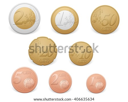 Euro coins set on a white background. - stock vector