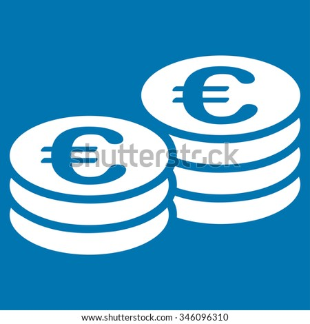 Euro Coins vector icon. Style is flat symbol, white color, rounded angles, blue background. - stock vector
