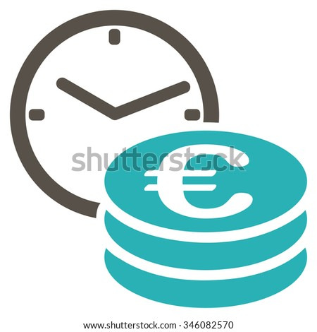 Euro Credit vector icon. Style is bicolor flat symbol, grey and cyan colors, rounded angles, white background. - stock vector
