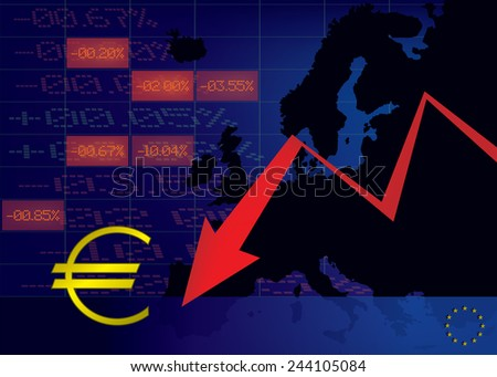 Euro currency decline illustration red down arrow,euro currency symbol with map of Europe and stock market displays in background - stock vector