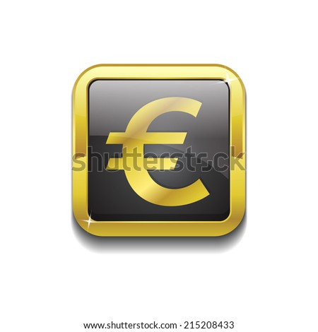 Euro Currency Sign Square Vector Golden Black Web Icon Button