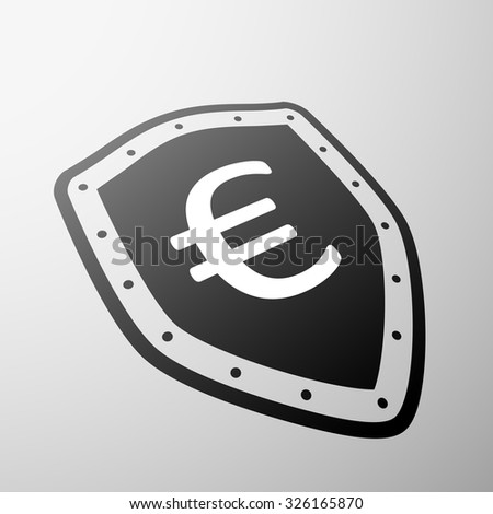 Euro currency symbol on the shield. Stock vector illustration. - stock vector