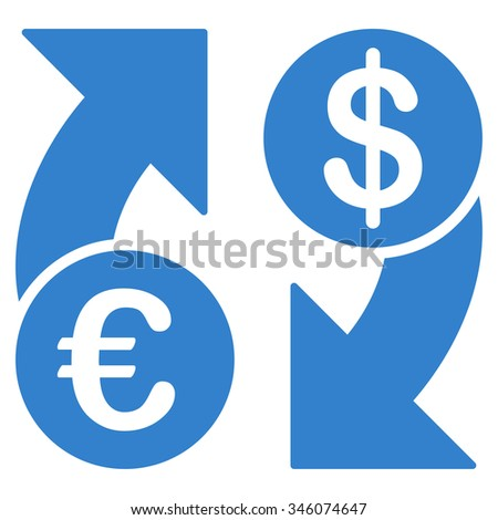 Euro Dollar Euro Exchange vector icon. Style is flat symbol, cobalt color, rounded angles, white background.
