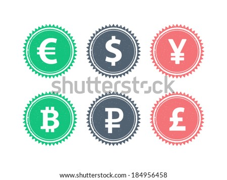Euro Dollar Yen Yuan Bitcoin Rubel Pound mainstream currencies symbols on grunge vintage hipster style stamp badge sign vector illustration graphic template isolated on white background - stock vector