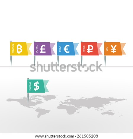 Euro Dollar Yen Yuan Bitcoin Ruble Pound Mainstream Currencies Symbols on Flag Sign on World Map. Vector Illustration Graphic Template. - stock vector