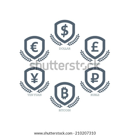 Euro Dollar Yen Yuan Bitcoin Ruble Pound Mainstream currencies symbols on shield sign. Vector illustration graphic template isolated on white background. - stock vector