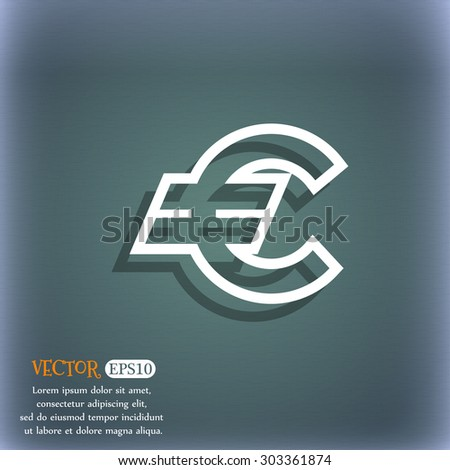 Euro EUR icon symbol on the blue-green abstract background with shadow and space for your text. Vector illustration