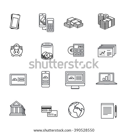 Euro finance line icons collection. Smart banking, savings, money & mobile payment set.  - stock vector