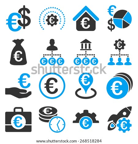 Euro financial service and business diagram icons. These symbols use modern corporate light blue and gray colors. - stock vector