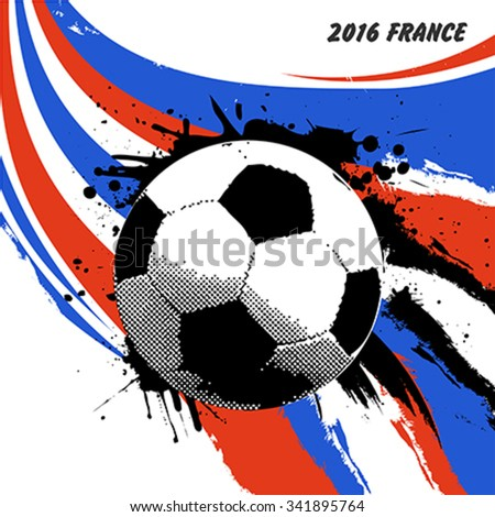 Euro 2016 France football championship with ball and france flag colors - stock vector