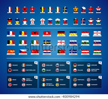 Euro 2016 France. Vector flags and groups. European football championship. Soccer tournament. All groups with flags illustrated on jerseys. Waving flags with country names. World Cup Russia 2018.