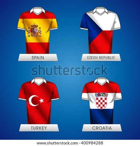 Euro 2016 France. Vector flags and groups. European football championship. Soccer tournament. GROUP C jerseys - stock vector