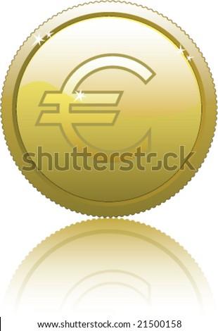 Euro Gold Coin Vector - stock vector