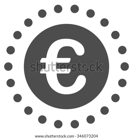 Euro Gold Coin vector icon. Style is flat symbol, gray color, rounded angles, white background. - stock vector