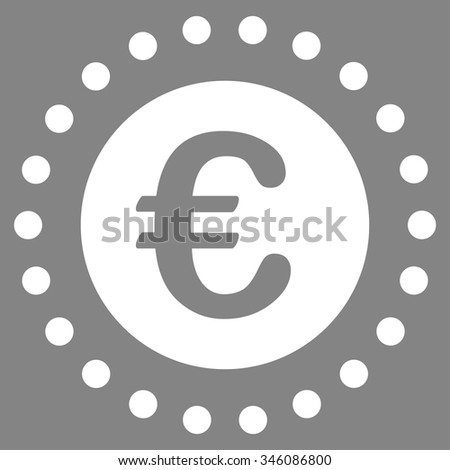 Euro Gold Coin vector icon. Style is flat symbol, white color, rounded angles, gray background. - stock vector