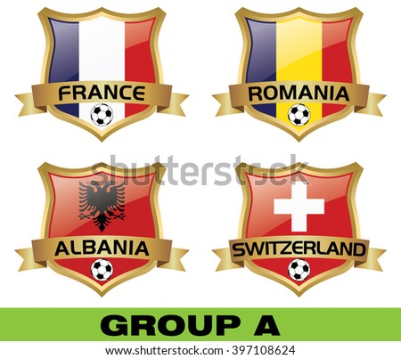 Euro 2016 Group A - stock vector