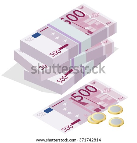 Euro Icon, Euro Icon Vector, Euro banknotes, Euro coin, Euro Picture, Euro vector, Euro Icon isometric, Euro banknotes stacksrt, Euro money, Euro concept, euro money isolated, euro notes, 500 euro - stock vector