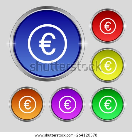 Euro icon sign. Round symbol on bright colourful buttons. Vector illustration - stock vector