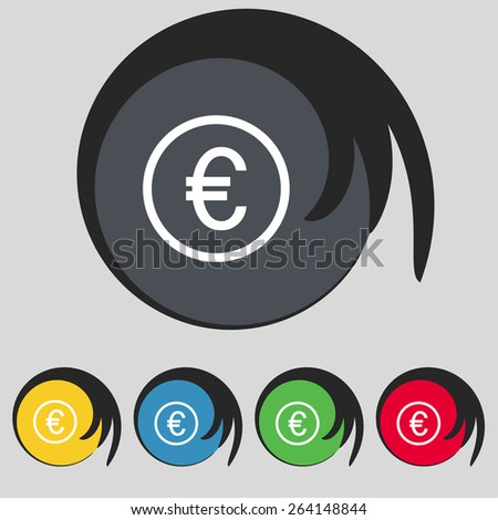 Euro icon sign. Symbol on five colored buttons. Vector illustration - stock vector