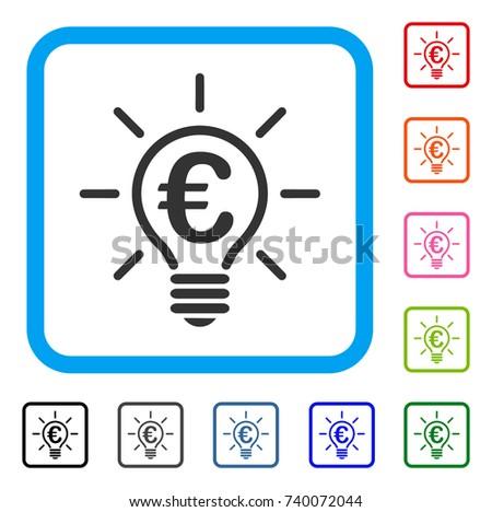 vector square blue icon lighting bulb. Euro Idea Bulb Icon. Flat Gray Iconic Symbol Inside A Light Blue Rounded Square. Vector Square Icon Lighting
