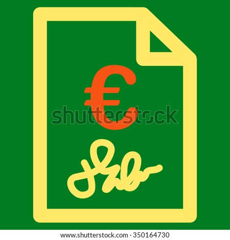 Euro Invoice vector icon. Style is bicolor flat symbol, orange and yellow colors, rounded angles, green background.