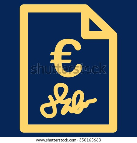 Euro Invoice vector icon. Style is flat symbol, yellow color, rounded angles, blue background.