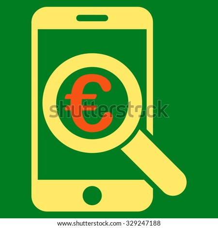 Euro Mobile Research vector icon. Style is bicolor flat symbol, orange and yellow colors, rounded angles, green background.