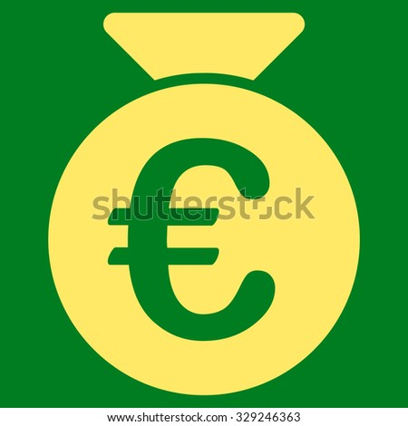 Euro Money Bag vector icon. Style is flat symbol, yellow color, rounded angles, green background.