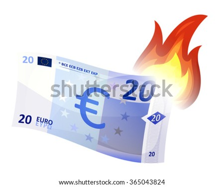 Euro Money Bill Burning/ Illustration of a cartoon euro bill burning, symbolizing crash of european economy area, debt crisis and economic depression. Imaginary specimen with simplified graphics - stock vector