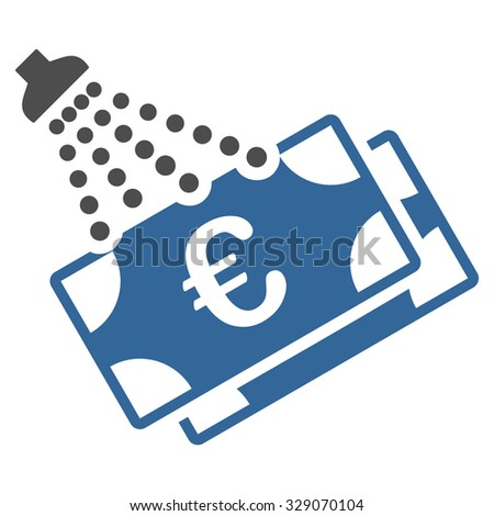 Euro Money Laundry vector icon. Style is bicolor flat symbol, cobalt and gray colors, rounded angles, white background. - stock vector