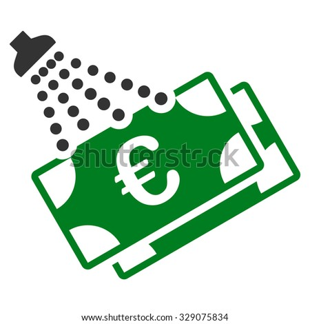 Euro Money Laundry vector icon. Style is bicolor flat symbol, green and gray colors, rounded angles, white background. - stock vector