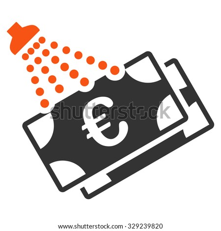 Euro Money Laundry vector icon. Style is bicolor flat symbol, orange and gray colors, rounded angles, white background. - stock vector