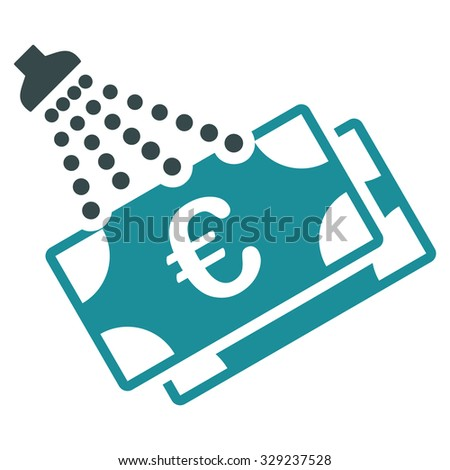 Euro Money Laundry vector icon. Style is bicolor flat symbol, soft blue colors, rounded angles, white background. - stock vector