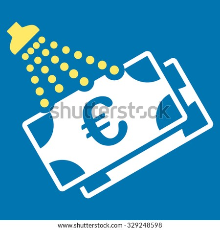 Euro Money Laundry vector icon. Style is bicolor flat symbol, yellow and white colors, rounded angles, blue background. - stock vector