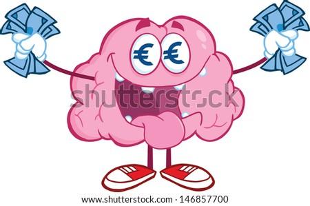 Euro Money Loving Brain Cartoon Character. Vector Illustration - stock vector