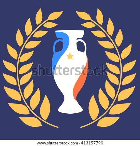Euro 2016 official vector flat cup with golden laurel wreath around and a star isolated on blue background. Eurocup, euro cup. Euro 2016 France Championship winner prize. First 1st place trophy symbol - stock vector