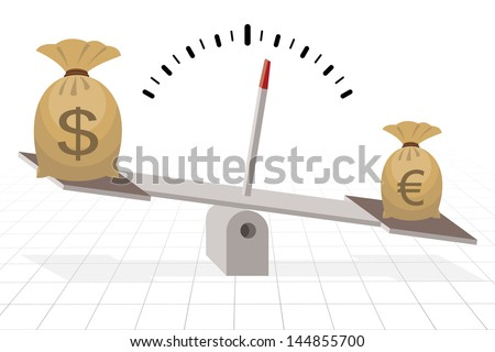 euro outweighs dollar on seesaw, financial concept - stock vector