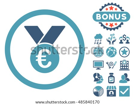 Euro Prize Medal icon with bonus pictogram. Vector illustration style is flat iconic bicolor symbols, cyan and blue colors, white background.
