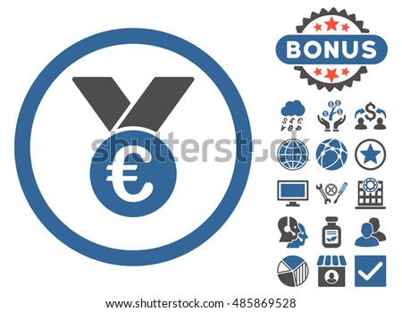 Euro Prize Medal icon with bonus pictogram. Vector illustration style is flat iconic bicolor symbols, cobalt and gray colors, white background.