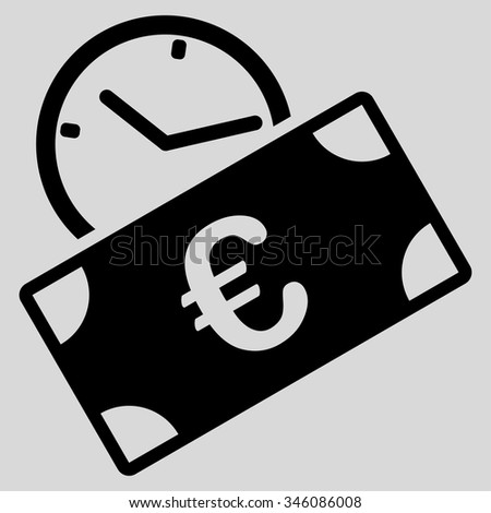 Euro Recurring Payment vector icon. Style is flat symbol, black color, rounded angles, light gray background. - stock vector