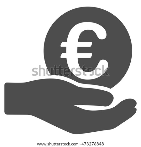 Euro Salary icon. Vector style is flat iconic symbol, gray color, white background.