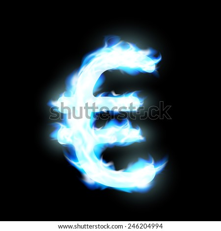 Euro sign burning blue flame - stock vector
