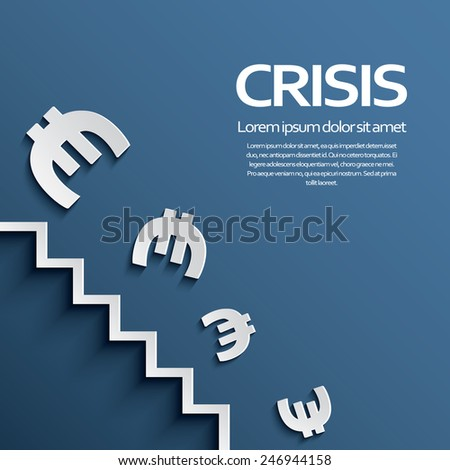 Euro sign falling down the stairs as a symbol of european recession crisis. Eps10 vector illustration. - stock vector