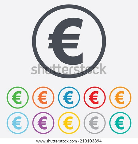 Euro sign icon. EUR currency symbol. Money label. Round circle buttons with frame. Vector - stock vector