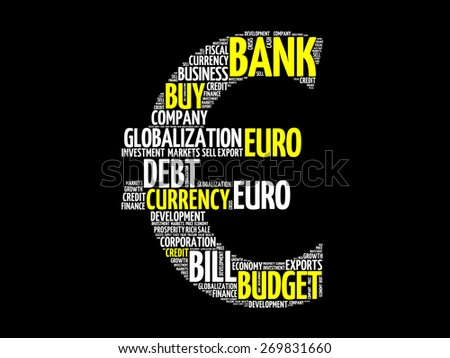 Euro sign word cloud, business concept - stock vector